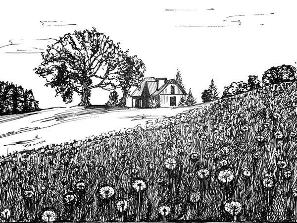 Рисуем пейзаж линером | Ярмарка Мастеров - ручная работа, handmade