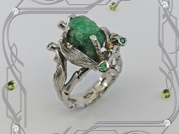 Кольцо «Тропикана-super» серебро 925, натуральные изумруды   Ярмарка Мастеров - ручная работа, handmade