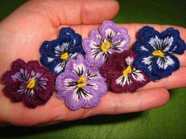 Вышиваем объемные фиалки | Ярмарка Мастеров - ручная работа, handmade