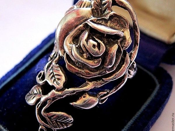 АУКЦИОН: Винтажное серебряное кольцо  «Роза» , Ар-Нуво, Франция, 1970е | Ярмарка Мастеров - ручная работа, handmade