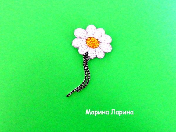 Создаем брошь  «Ромашка»  из бисера | Ярмарка Мастеров - ручная работа, handmade