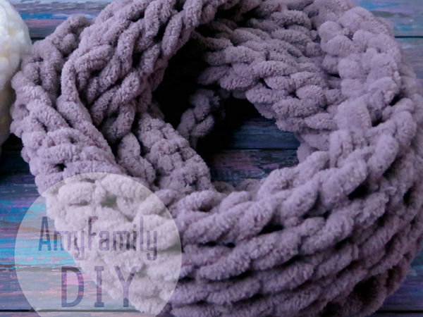 Let's Knit a Cowl of Alize Puffy without Needles in 10 Minutes   Livemaster - handmade
