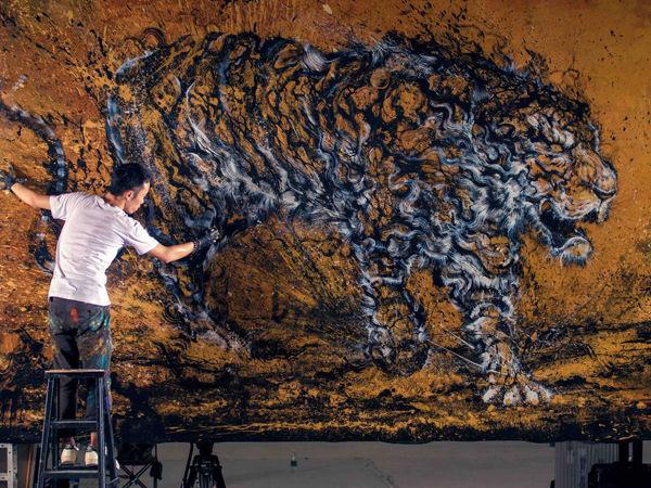 «Взрывные картины»: необычная техника рисования брызгами красок от Чен Йингжи | Ярмарка Мастеров - ручная работа, handmade