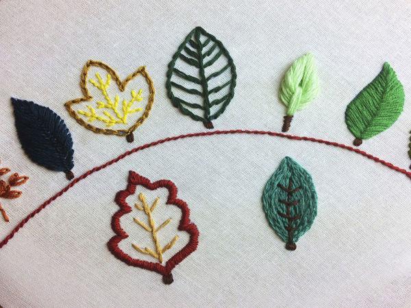 9 способов вышить листики   Ярмарка Мастеров - ручная работа, handmade