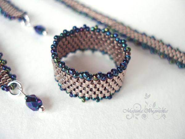 Кольцо и браслет из Miyuki Delica: как приплести дополнительный ряд вдоль мозаичного полотна   Ярмарка Мастеров - ручная работа, handmade