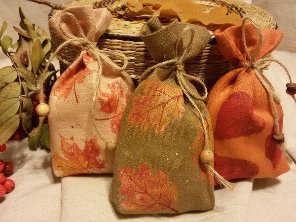 Новинка магазина: мешочки с отпечатками осенних листьев для хранения и упаковки | Ярмарка Мастеров - ручная работа, handmade