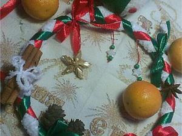 Легко и просто мастерим милый Рождественский венок | Ярмарка Мастеров - ручная работа, handmade