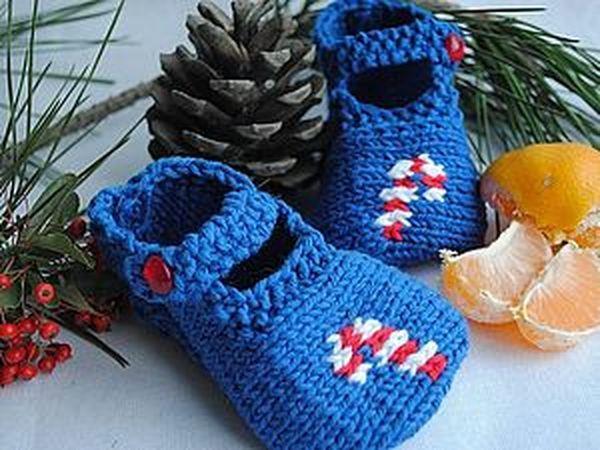 Пинетки-туфельки с конфеткой - вязание на спицах   Ярмарка Мастеров - ручная работа, handmade