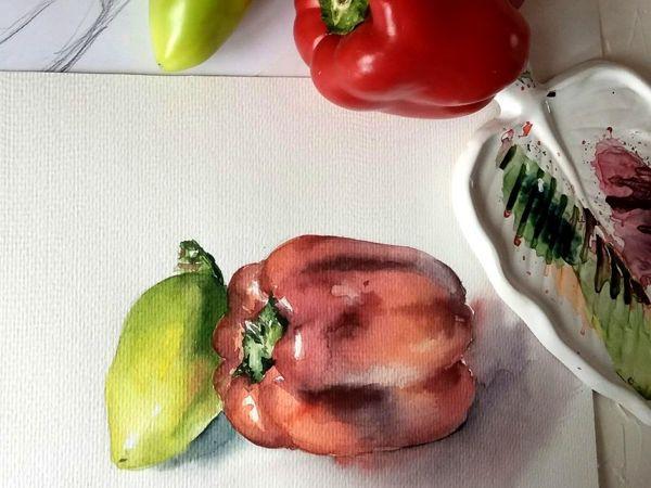Рисуем перцы 4 цветами акварели   Ярмарка Мастеров - ручная работа, handmade