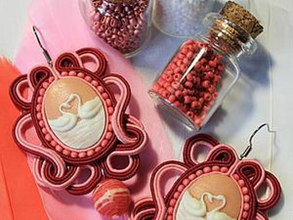Мастер-класс: сутажные серьги «Розовый лебедь» | Ярмарка Мастеров - ручная работа, handmade