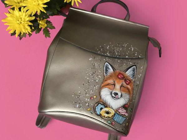 Видео рюкзака с ручной росписью Лиса Сладкоежка | Ярмарка Мастеров - ручная работа, handmade