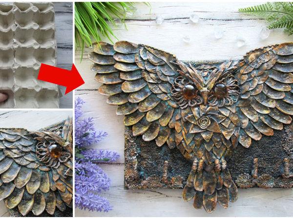 Летящая сова из картона и бумажных лотков от яиц   Ярмарка Мастеров - ручная работа, handmade