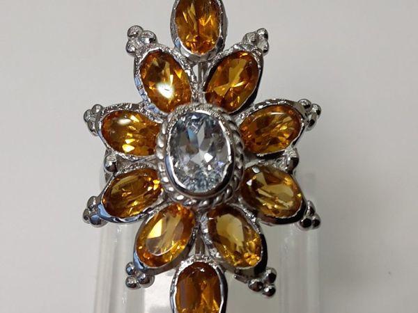 Серебряное кольцо с натуральным аквамарином и цитринами  «Андромеда» | Ярмарка Мастеров - ручная работа, handmade
