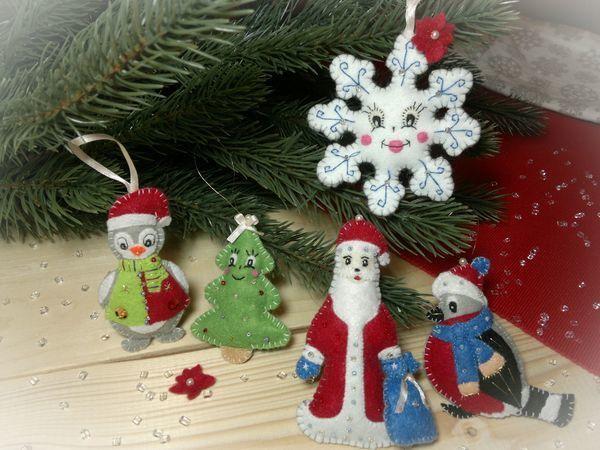 Шьём набор ёлочных игрушек из фетра «Новогодняя семейка» | Ярмарка Мастеров - ручная работа, handmade