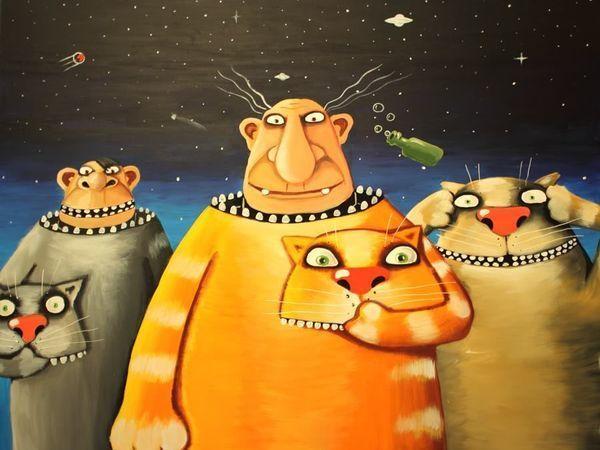 Коты художника васи Ложкина покоряют космос | Ярмарка Мастеров - ручная работа, handmade