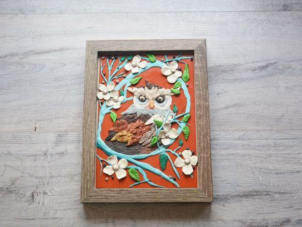 Создаем картину из пластилина Сова   Ярмарка Мастеров - ручная работа, handmade