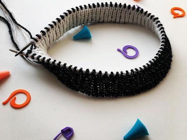 Учимся вязать двуцветную полую резинку | Ярмарка Мастеров - ручная работа, handmade