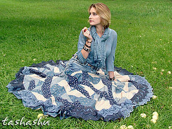 Апгрейд старых джинсов, или, возможно, это бохо (часть вторая: сборка юбки и ремень). | Ярмарка Мастеров - ручная работа, handmade