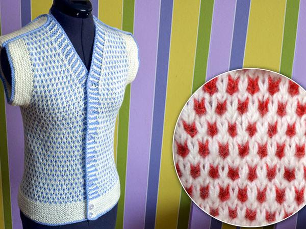 вяжем простой двухцветный узор спицами вязание спицами для