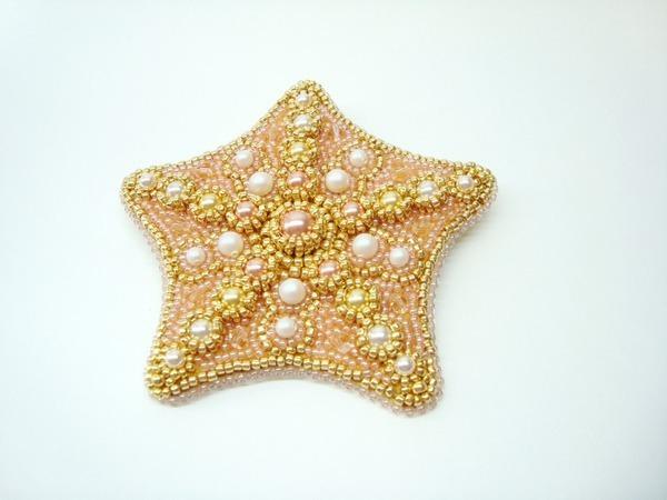 Вышиваем брошь-кулон «Морская звезда» жемчугом Swarovski и бисером | Ярмарка Мастеров - ручная работа, handmade