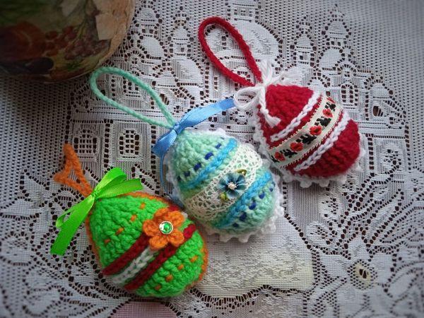 Пасхальные яички-подвески крючком за 1 час   Ярмарка Мастеров - ручная работа, handmade