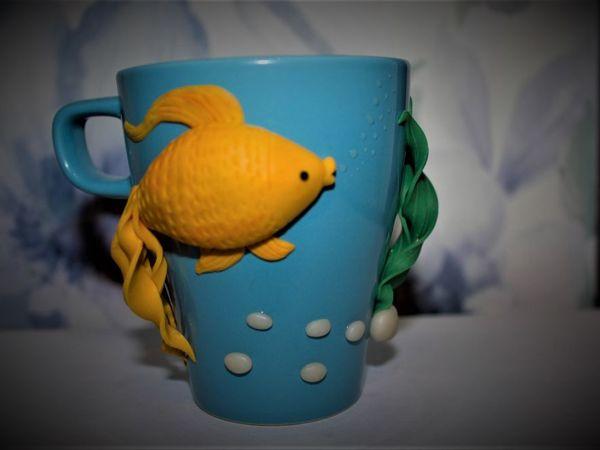 Декор кружки «Золотая рыбка»   Ярмарка Мастеров - ручная работа, handmade