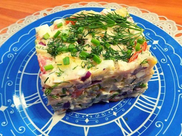 Салат с копченой куриной грудкой, сыром и яйцами   Ярмарка Мастеров - ручная работа, handmade