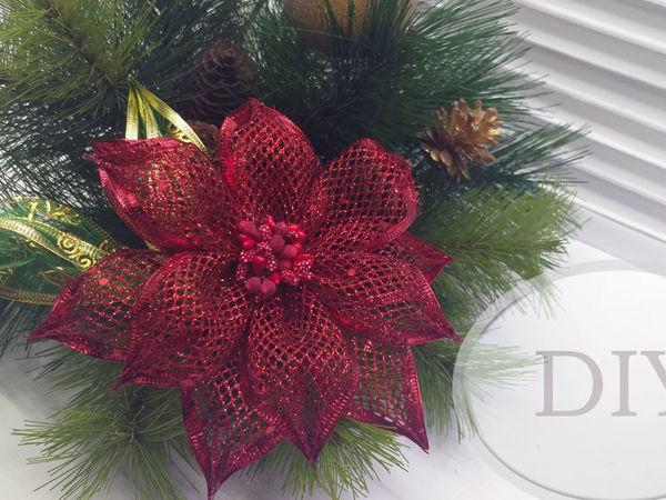 Рождественская звезда (пуансеттия) из ленты   Ярмарка Мастеров - ручная работа, handmade