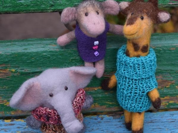 Экзотические животные — игрушки на пальчик | Ярмарка Мастеров - ручная работа, handmade