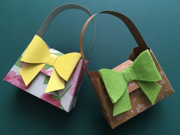 Делаем из бумаги сумочку с бантиком | Ярмарка Мастеров - ручная работа, handmade