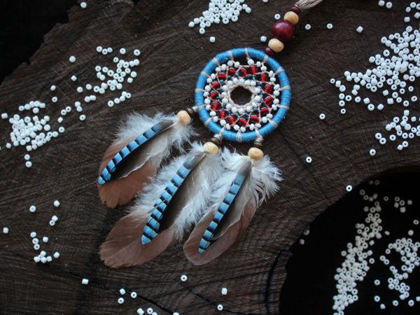 Плетем брелок ловец снов с бисером | Ярмарка Мастеров - ручная работа, handmade