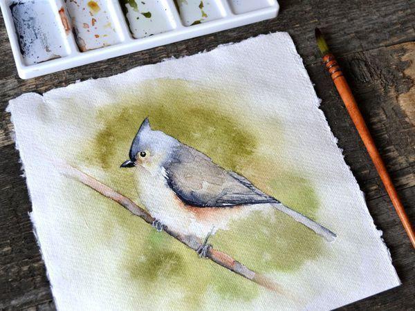 Видео мастер-класс: птичка акварелью за полчаса | Ярмарка Мастеров - ручная работа, handmade