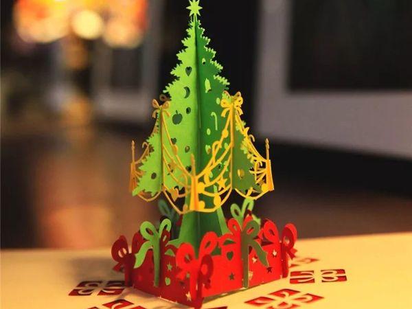 Новогодняя ёлка Merry Christmas — Объемная 3D открытка ручной работы | Ярмарка Мастеров - ручная работа, handmade