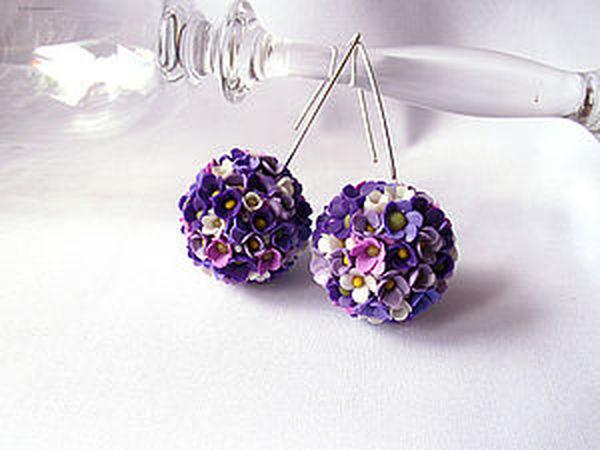 Создаем цветочные серьги-шары из запекаемой полимерной глины | Ярмарка Мастеров - ручная работа, handmade