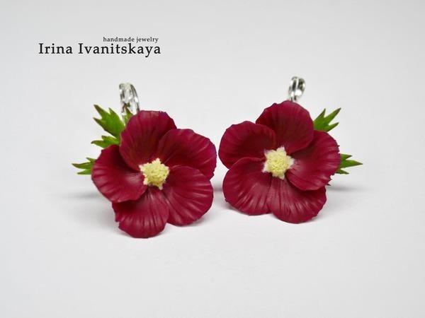 Серьги с цветами мальвы в цвете марсала   Ярмарка Мастеров - ручная работа, handmade