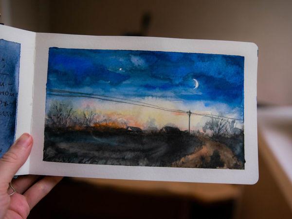 Скетч за 20 минут: акварельный пейзаж с месяцем | Ярмарка Мастеров - ручная работа, handmade
