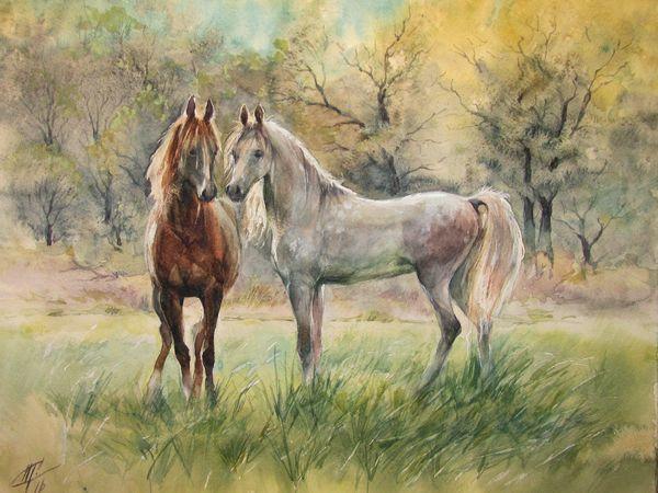 Как рисовать лошадок акварелью   Ярмарка Мастеров - ручная работа, handmade