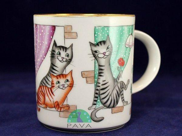 Кошки в окошке: расписываем фарфоровый бокал керамическими красками | Ярмарка Мастеров - ручная работа, handmade