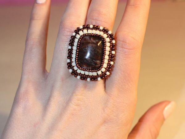 Создаем вышитое бисером кольцо с кабошоном на основе со шляпкой | Ярмарка Мастеров - ручная работа, handmade