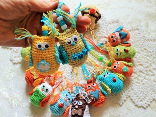 Вяжем подвески с мини-совушками | Ярмарка Мастеров - ручная работа, handmade