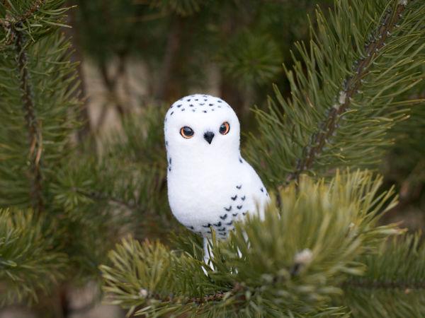 Валяем елочную игрушку «Белая полярная сова» | Ярмарка Мастеров - ручная работа, handmade