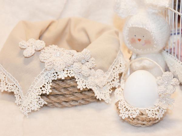 Делаем пасхальный набор: корзину для кулича и подставку для яйца   Ярмарка Мастеров - ручная работа, handmade