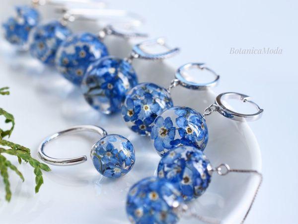 Новая коллекция с настоящими цветами незабудками и серебром!   Ярмарка Мастеров - ручная работа, handmade