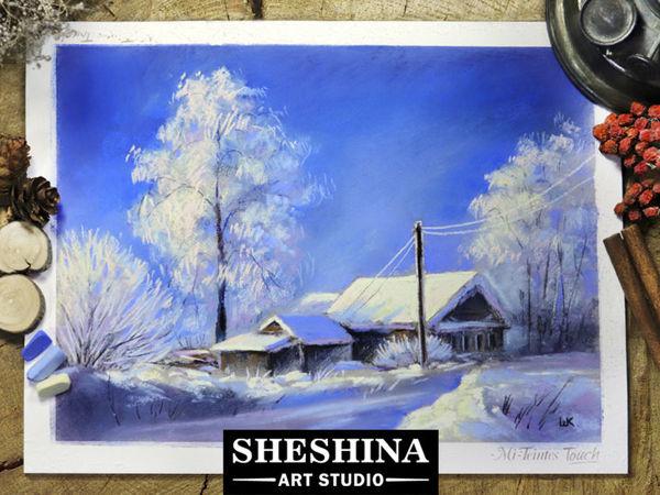 Рисуем зимний пейзаж сухой пастелью | Ярмарка Мастеров - ручная работа, handmade