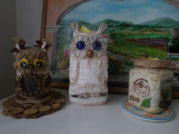 Создаем салфетницу «Совушки» из бутылки | Ярмарка Мастеров - ручная работа, handmade