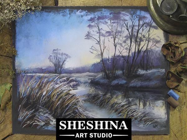 Видеоурок: рисуем зимний пейзаж в сумерках сухой пастелью   Ярмарка Мастеров - ручная работа, handmade