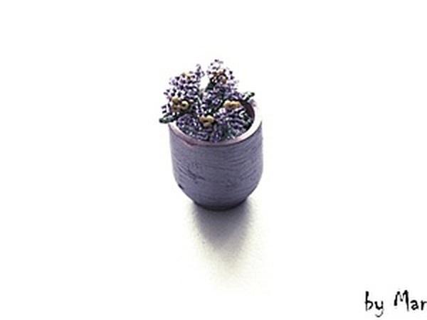 Маленькие фиалки из бисера | Ярмарка Мастеров - ручная работа, handmade