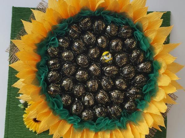 Создаем подсолнух из конфет | Ярмарка Мастеров - ручная работа, handmade