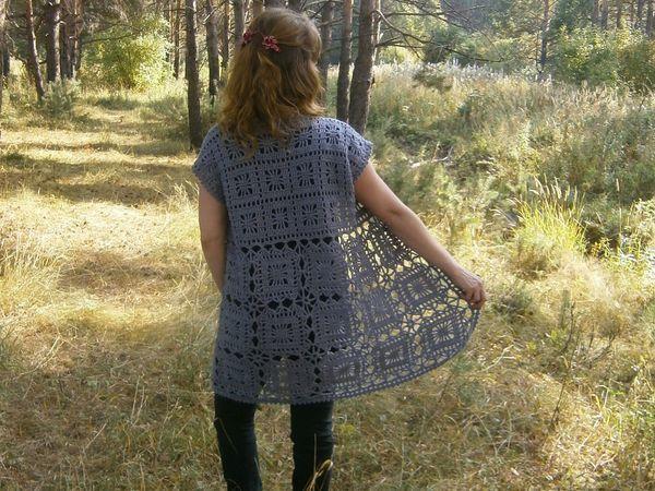 Удлиненный жилет из шерсти, связанный крючком | Ярмарка Мастеров - ручная работа, handmade