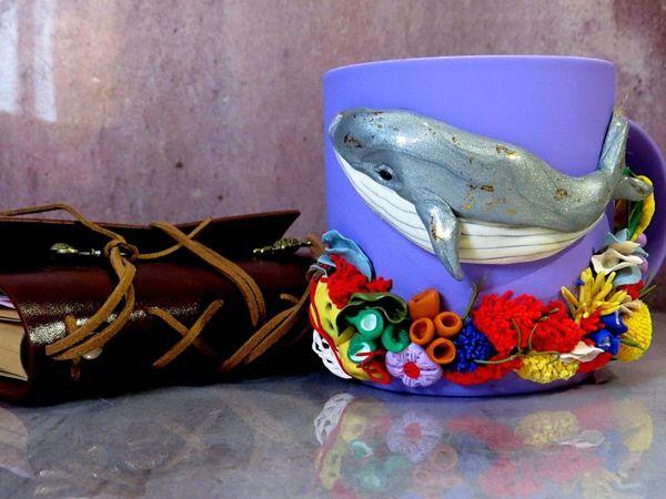 Декорируем кружку глиной: кит и кораллы   Ярмарка Мастеров - ручная работа, handmade